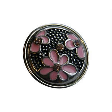 Button Zilver Kleur Met Roze Bloemen Diam 1.5cm