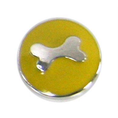 Button Geel Met Bot Zilver Kleur Diam 1.5cm