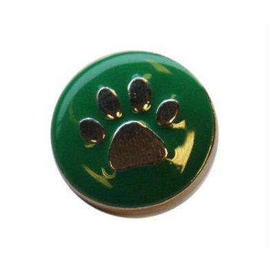 Button Groen Met Poot Afdruk Zilver Kleur Diam 1.5cm