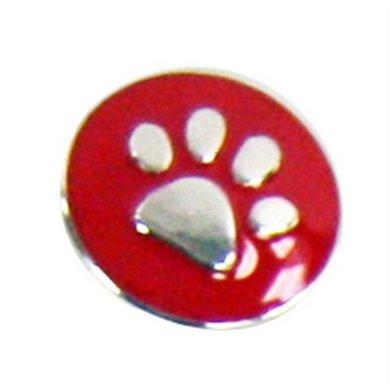 Button Rood Met Poot Afdruk Zilver Kleur Diam 1.5cm