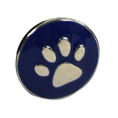 Button Blauw Met Poot Afdruk Zilver Kleur Diam 1.5cm