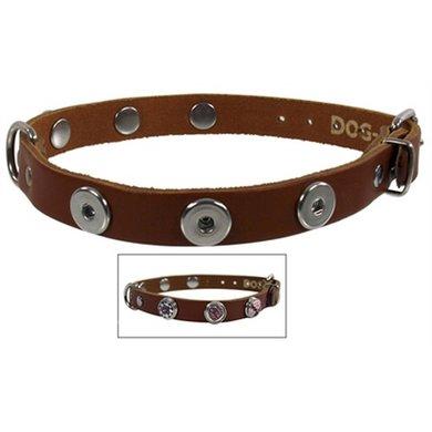 Halsband Leer Voor Buttons Cognac 55cm-22 Mm