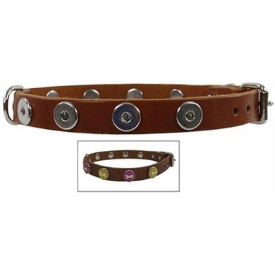 Halsband Leer Voor Buttons Cognac 60cm-22 Mm