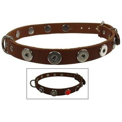 Halsband Leer Voor Buttons Cognac 65cm-22 Mm