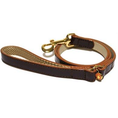 Wag N Walk Looplijn Hond Oxblood Bruin Stud 100x1cm