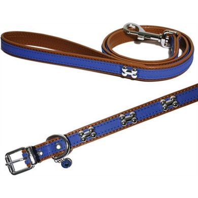 Wag N Walk Halsband Hond Royal Blauw Studs 20 - 25.5cm