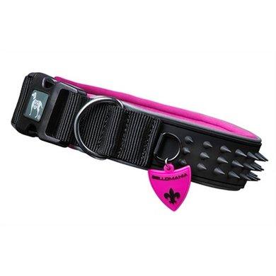 Bellomania Halsband Spikes Audrey Zwart/roze 54-62x4cm