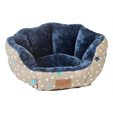 Lief! Kattenmand Boys Ovaal Beige/Blauw 46.5x36x18cm