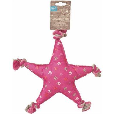 Lief! Hondenspeelgoed Canvas Ster Met Piep Girls Roze 30cm