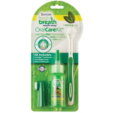 Tropiclean Fresh Breath Oral Care Kit Grote Hond 59ml