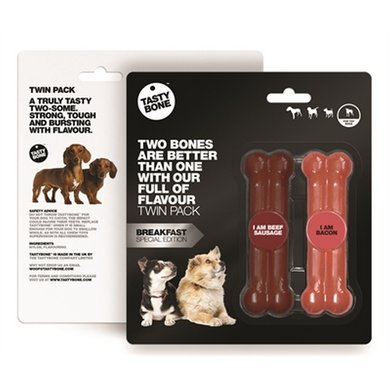 Tasty Bone Twinpack Beef Sausage/Bacon 11x3.5x2cm