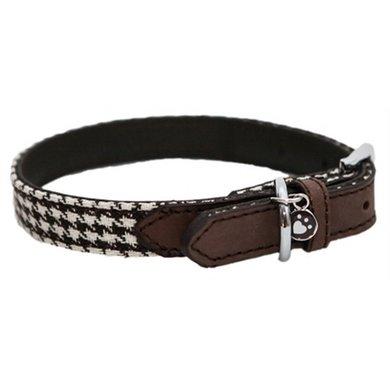 Wag n Walk Halsband Hond Houndstooth Bruin/Wit 20-31cm