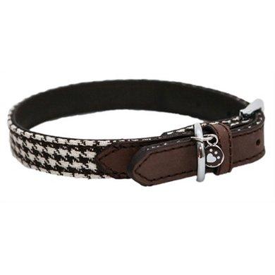 Wag n Walk Halsband Hond Houndstooth Bruin/Wit 31-41cm