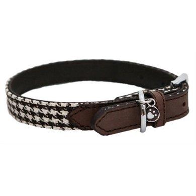 Wag n Walk Halsband Hond Houndstooth Bruin/Wit 41-51cm