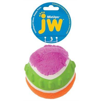 Jw Mixups Geribbelde Bal Pluche/Rubber/Tennisbal 10cm