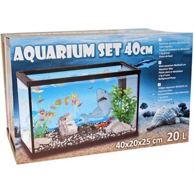 Aquarium Set 40cm Met Filter Met Deco Haai