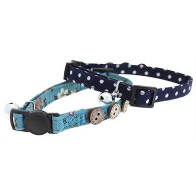 Tabby Chic Kattenhalsband Gebloemd Blauw 30x2x1cm