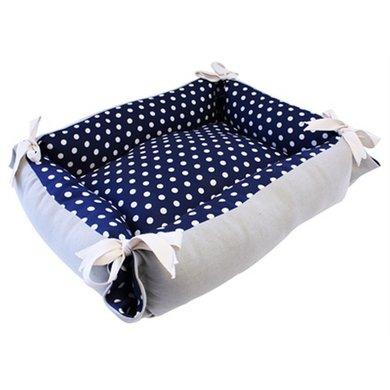 Tabby Chic Kattenmand Polka Dot Blauw/Beige 55x45x16cm