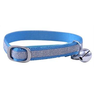 Out  About Kattenhalsband Glitter Blauw 1x30x1.5cm