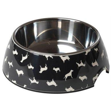 House Of Paws Voerbak Hond Silhouette Zwart 17.5x6.5cm