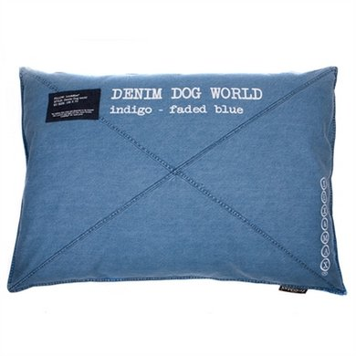Lex&max Hondenkussen Denim Dog World Faded Blauw 100x70cm