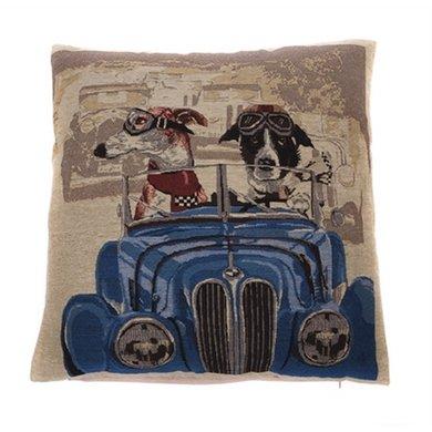 In The Mood Sierkussen Napoleon Hond In Auto Blauw 45x45cm