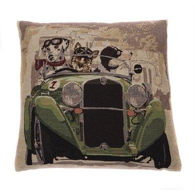 In The Mood Sierkussen Napoleon Hond In Auto Groen 45x45cm