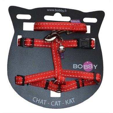 Bobby Kattentuig En Looplijn Nylon Refl Rood 25-38x1cm