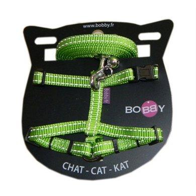 Bobby Kattentuig En Looplijn Nylon Refl Groen 25-38x1cm