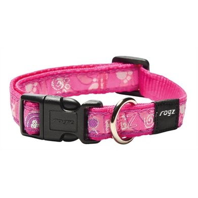 Rogz For Dogs Scooter Halsband Pink Paw 16mm 26-40cm