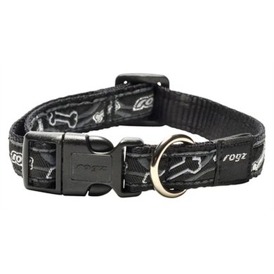 Rogz For Dogs Scooter Halsband Black Bone 16mm 26-40cm