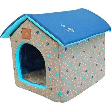 Lief! Hondenmand/kattenmand Huis Boys Beige/Blauw 45x35x42cm