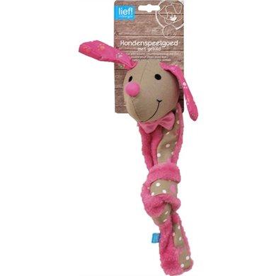 Lief! Hondenspel Canvas Teckel Knoop P Girl Beige/roze 48cm