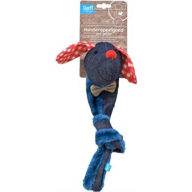 Lief! Hondenspel Canvas Teckel Knoop Piep Uni Blauw 48cm