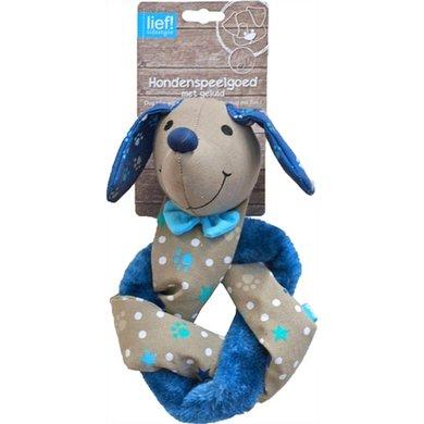 Lief! Hondenspel Teckel Crinkle Piep Boys Beige/Blauw 30cm