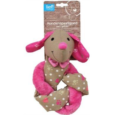 Lief! Hondenspel Teckel Crinkle Piep Girls Beige/roze 30cm