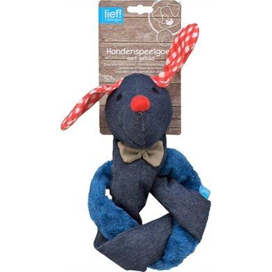 Lief! Hondenspel Teckel Crinkle Piep Unisex Blauw/Rood 30cm