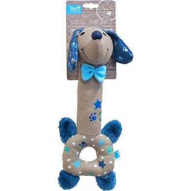 Lief! Hondenspeelgoed Langnek Teckel Boys Beige/Blauw 30cm