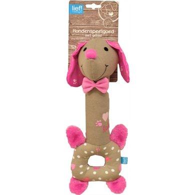 Lief! Hondenspeelgoed Langnek Teckel Girls Beige/roze 30cm