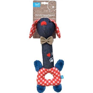 Lief! Hondenspeelgoed Langnek Teckel Unisex Blauw/Rood 30cm