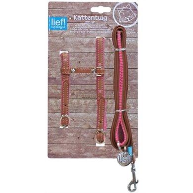 Lief! Kattentuig Looplijn Girls Bruin/roze 35cm - 130cm