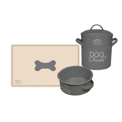 Banbury  Co Giftset Hond Placemat/voerbak/voorraadpot Tin