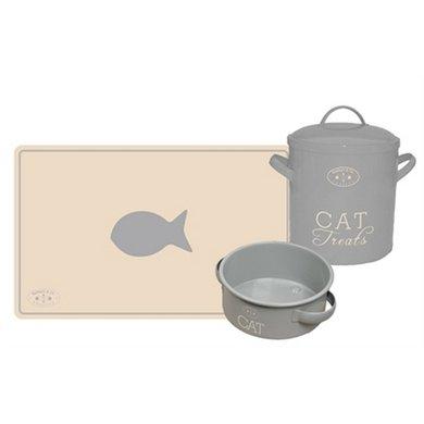 Banbury & Co Giftset Kat Placemat/voerbak/voorraadpot Tin