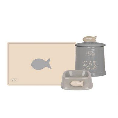 Banbury  Co Giftset Kat Placemat/voerbak/voorraadpot Kera