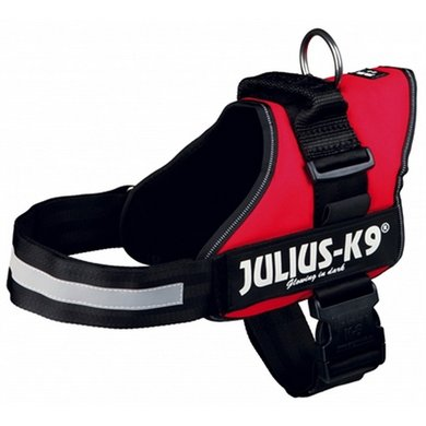 Julius K9 Power-harnas/tuig Labels Rood 1/66-85cm
