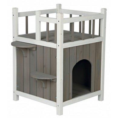 Trixie Kattenhuis Cats Home Balkon Grijs/Wit 45x65x45cm
