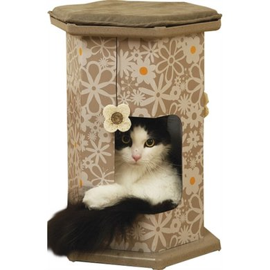 Rosewood Wolf & Tiger Play Tower/Tunnel 51x31x31cm