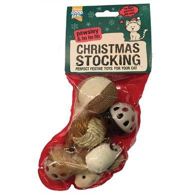 Good Girl Paws Kerstsok Kat Met Speelgoed 6 St