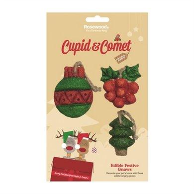 Cupid & Comet Eetbare Kerst Ornamenten 3 St