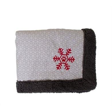 Petbrands Festive Hondendeken Sneeuwvlok Grijs 120x100x4cm